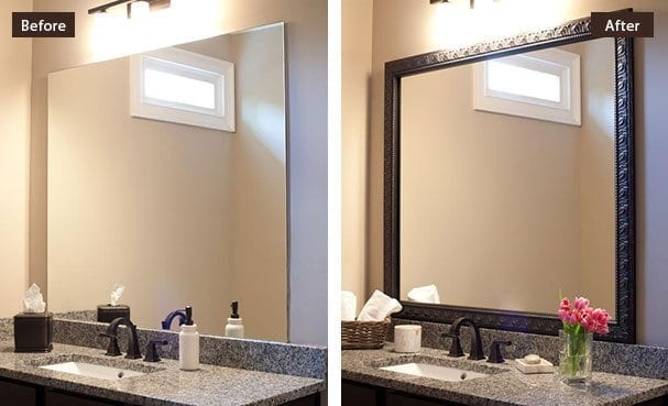 Framing Bathroom Mirror Over Metal Clips custom diy bathroom mirror frame kits