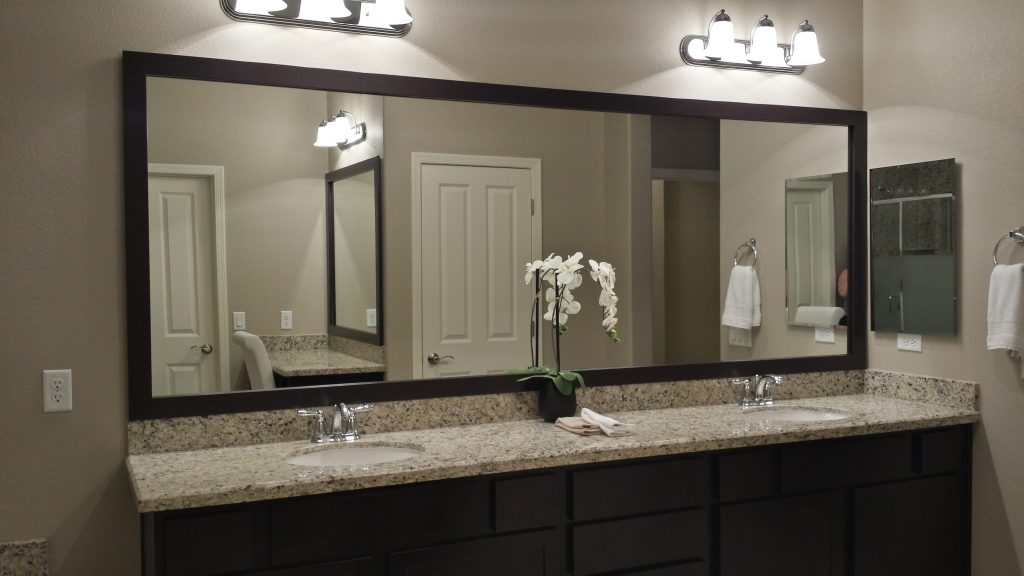 Before and after customer bathroom in las vegas frame for Vanity mirrors for bathroom ideas