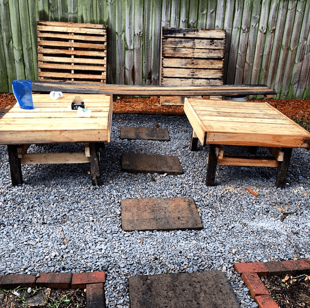 Two DIY Pallet Tables on rock patio