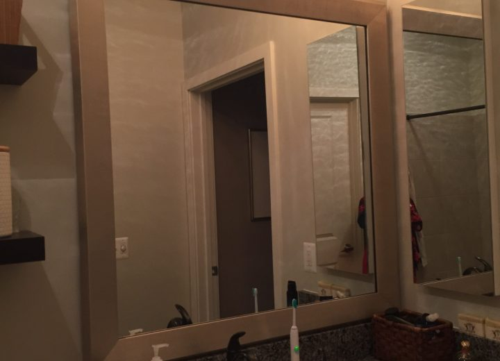 Silver bathroom mirror frame