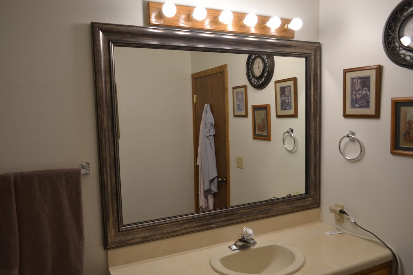 camden nickel add a bathroom mirror frame customer photo