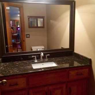 customer photo after bathroom mirror humbolt frame