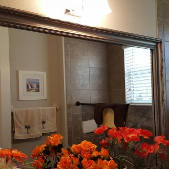 add a bathroom frame in american pewter