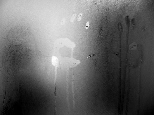 fogged bathroom mirror