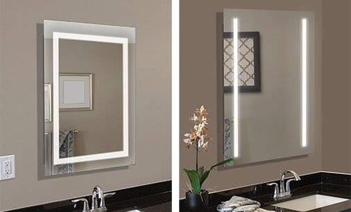 Custom diy bathroom mirror frame kits led lighted mirrors are ready to install and hang in either direction to fit your space solutioingenieria Choice Image