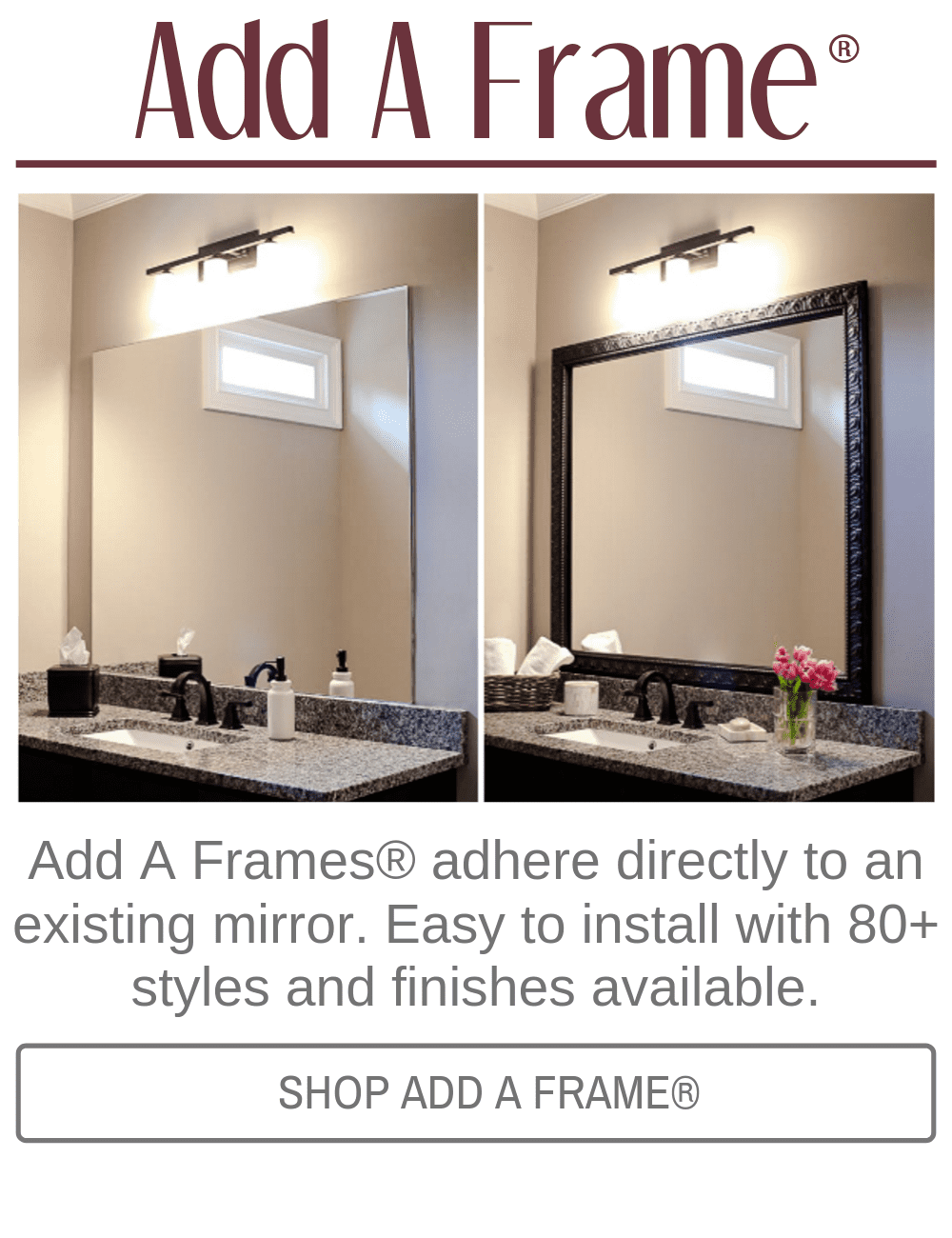Custom Diy Bathroom Mirror Frame Kits